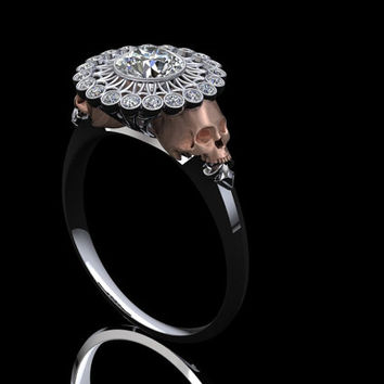 Skull Web Diamond Engagement Ring  Half Carat Center