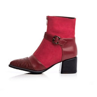Womens Edgy Ankle Strap Zip Boots