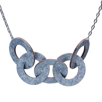 Wool felt five-ring necklace