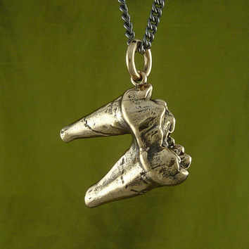"Tooth Necklace - Cave Bear Tooth Necklace Bronze Bear Molar Tooth Pendant on 24"" Gunmetal Chain"