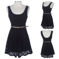 "CLOSEOUT~""StarLite"" Sleeveless Lace ""Little Black Dress"" with Belt Spring/Summer Apparel"