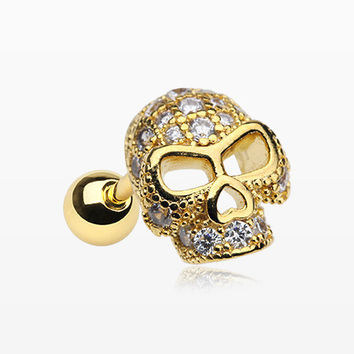 Golden Death Skull Sparkle Cartilage Tragus Barbell