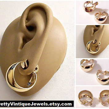 Monet Wide Bottom Hoops Clip On Earrings Gold Tone Vintage Graduated Polished Round Dangle Rings