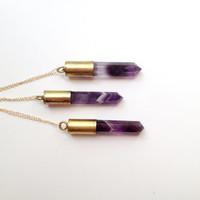 Amethyst Bullet Necklace - Amethyst Point Necklace - Long Gold Bullet Necklace