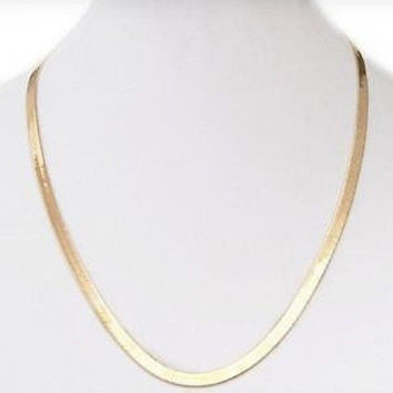 "18"" Herringbone Chain Necklace in 14k Gold Overlay"