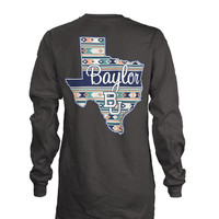 Baylor Bears Charcoal Aztec State Long Sleeve LS Tee