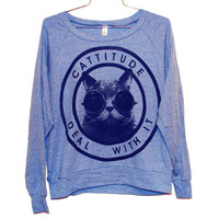 Cattitude Raglan Pullover Select Size by burgerandfriends on Etsy