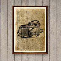 Old camera poster Dictionary print Antique decor Vintage illustration WA802