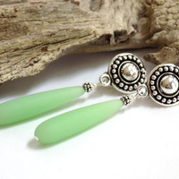 Sea Glass Earrings, Green Drop Earrings for Women, Silver Earrings, Comfortable Clip on Earrings, Handcrafted Jewelry, Beach Glass Jewelry