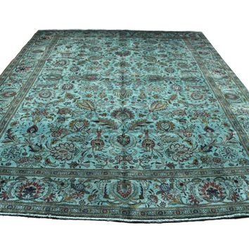 10×13 Overdyed Persian Tabriz Teal Green Vintage Rug 2910