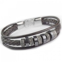 Punk Circular Decorated Faux Leather Bracelet - Black