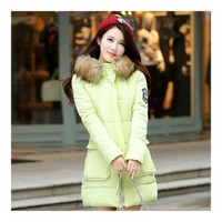 Winter Woman Middle Long Woman Thick Fur Collar Cotton Coat   green