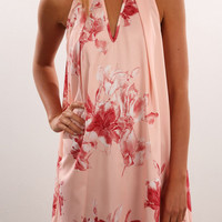 Pink V-Neck Floral Print Sleeveless Dress