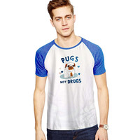 Pugs Not Drugs  For Short Raglan Sleeves T-shirt, Red Tees, Black Tees, Blue Tees*