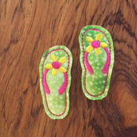 Felt snap clip barrette flip flops in green pink and yellow Set of 2