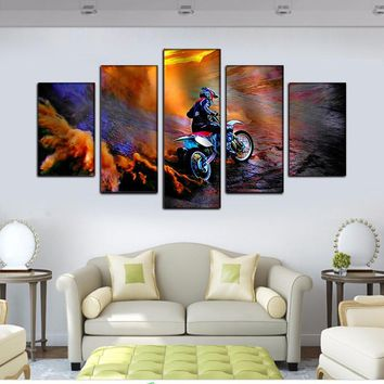 Dirtbike Mountain Motorcycle Racing Posters And Prints On The Wall Art Canvas