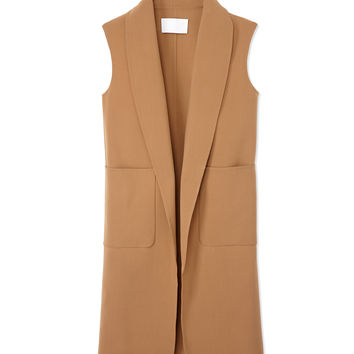 Alexander Wang Oversized Wool Vest - Camel Long Vest