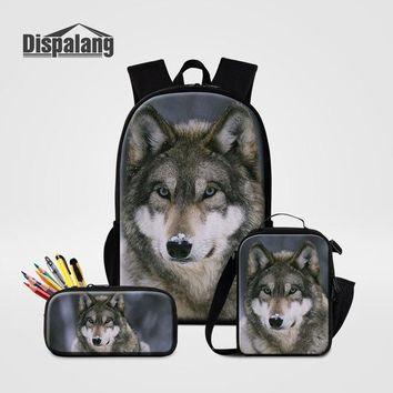 Cool Backpack school Custom Design 3 PCS Set Backpack Pencil Bag Lunchbox For Boys Cool Wolf School Bags Pen Box For Students Bookbags Men's Rucksack AT_52_3