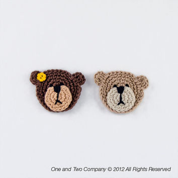 Teddy Bear Applique - PDF Crochet Pattern - Instant Download - Embellishment Accessories Ornament Scrapbooking Motif Animal