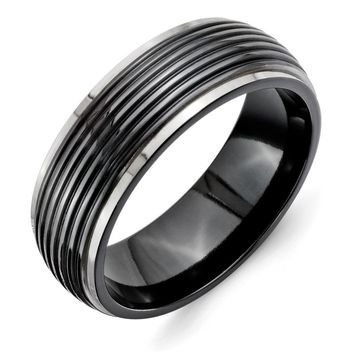 Men's Titanium Black Ti Grooved Two-tone Wedding Band Ring
