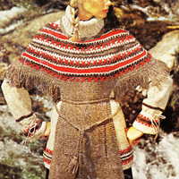 Vintage cape poncho sweater pattern PDF Instant Download knitted sweater cape coat jacket supplies epsteam crochet pattern vtg