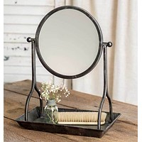 Farmhouse Vanity Tray with Round Mirror Womens Makeup Cosmetic Bathroom Rustic