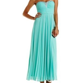 Mint Jeweled & Ruched Strapless Maxi Dress by Charlotte Russe