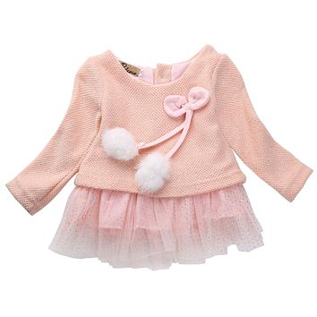 Autumn Winter 2017 Baby Girls Long Sleeve Dress Hairball Knit Lace Bowknot Princess Dresses For Girls Infant Red Pink Gray