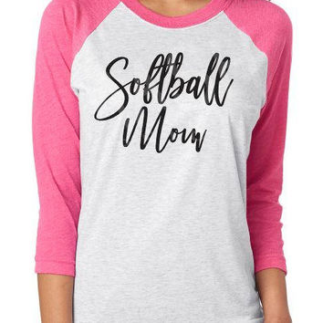 Softball Mom Raglan shirt, softball 3/4 sleeve raglan tee, softball aunt, softball grandma shirt, softball sister, custom raglan
