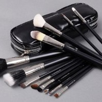 MAC 12 Full Size Brush Set Kit Travel Bag Brushes Eyes Lips Face Cosmetic