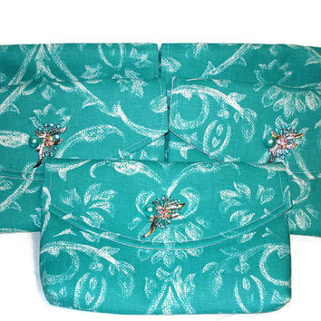 Set of Five (5) Teal and White Bridesmaids Clutches/Teal Clutch/Bridesmaid Clutch/Wedding Clutch