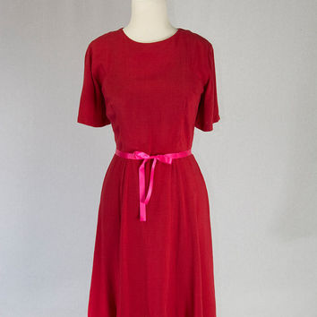 Vintage 50s Valentines Sweetheart Red Day Dress