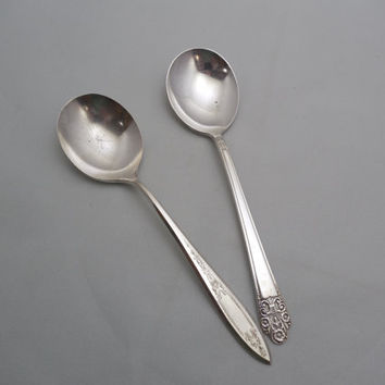 Mismatched Silver Plate Spoons, 2 Vintage Serving Spoons, 1 Rogers Precious Pattern, 1 WM A Rogers Oneida, Vintage Serving or Crafting