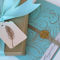 Regal Wedding Invitation boxed Marie Antoinette inspired by anistadesigns