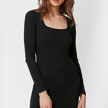 UO Square-Neck Ribbed Knit Bodycon Dress | Urban Outfitters