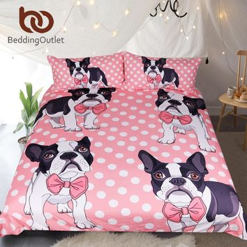 BeddingOutlet Bow Tie Bulldog Bedding Set Dot Pink Kids Cartoon Bed Set King Size Duvet Cover Animal Dog Pug Print Bedclothes