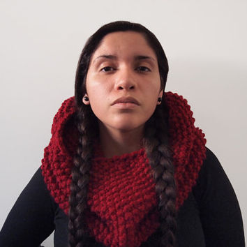 custom knit textured cowl-- the teres in cranberry