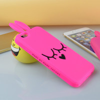 FASHION Brand MARC.JACOBS Silicone Pink Rabbit Soft Case For iPhone 4 4s 5 5s 6 6s For Samsung Galaxy S3 S4 S5 S6 Phone Cover