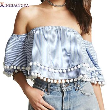 Summer blouse shirt  2017 Fashion Women Shirts blusa Couture Tassel Fringe Stitching Strapless Loose Stripes Short Blouses
