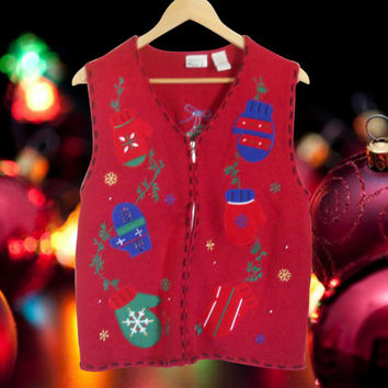 Ugly Christmas Sweater Tacky Christmas Sweater Holiday Sweater Christmas Vest Red Sweater Vest Hipster Sweater Hipster Clothes Clothing