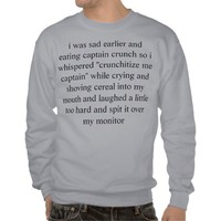 sad cereal pull over sweatshirt from Zazzle.com
