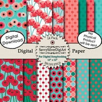 40% OFF SALE - Poppy Flower Digital Paper  - Instant Download, Pink Coral Teal Blue Red Green, Printable Scrapbook Background Paper, Poppies