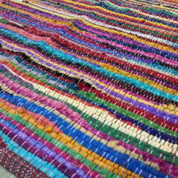 Rag Rug, Multi Color Area Rug, Eco Friendly Yoga Mat Floor Covering, Scrap Mat, Chindi Rug, Kitchen Bathroom Mat, Welcome Mat FREE SHIPPING
