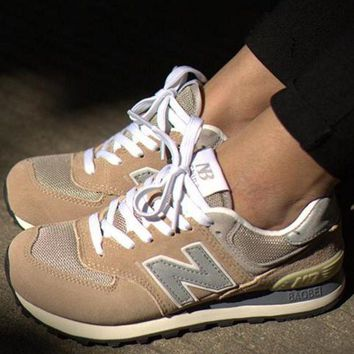 QIYIF new balance leisure shoes running shoes men s shoes for women s shoes couples n word beige grey