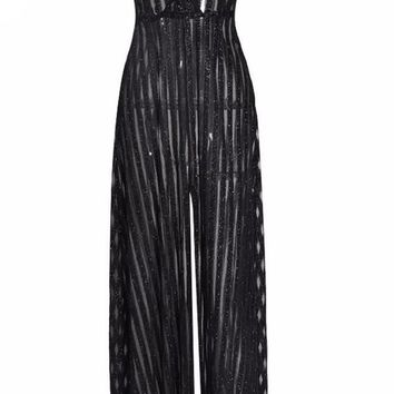 Black V-Neck Sequin Jumpsuit
