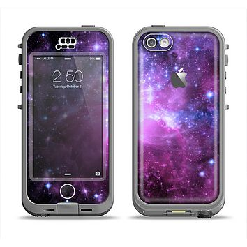The Purple Space Neon Explosion Apple iPhone 5c LifeProof Nuud Case Skin Set