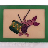 piglet quilled picture in a frame, piglet playing drum, winnie the pooh, pooh piglet, piglet nursery decor, pooh decor, piglet wall hanging