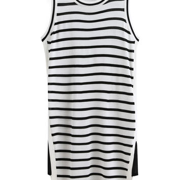 Black and White Striped Sleeveless Shift Dress with Side Slits