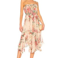 Antique Floral Asymmetrical Midi Dress