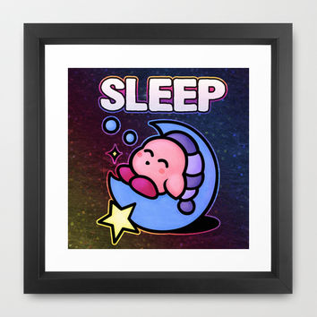 Kirby Sleep Framed Art Print by Likelikes
